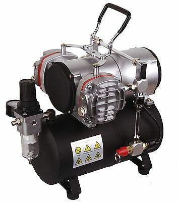 Oil-Less Mini Piston Twin Cylinder Airbrush Compressor With 3.5 Litre Tank