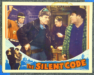 Silent Code '35 Adventure Lobby Card Native American With Knife