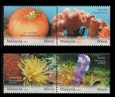Malaysia Living Corals  2013 Underwater Life Reef Animal Marine (stamp) MNH