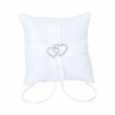 White Double Heart Wedding Party Pocket Ring Pillow Cushion 10*10cm DT