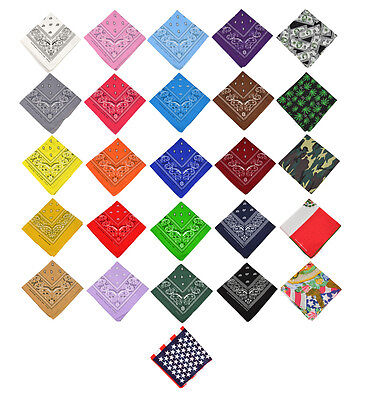 2, 6, or 12 pcs Cotton Paisley Bandana Double Sided Head Wrap Scarf Handkerchief