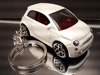 Fiat 500 Key Chain Ring White Coupe Diecast Fob 2 Door