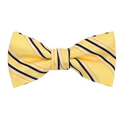 Boys Yellow & Black Striped Banded Bow Tie (FBB15)