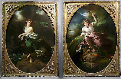 19th Century Pair of Italian Baroque style Oval Paintings of Beautiful Woman