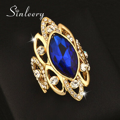 Big Hollow Blue Cubic Zirconia Cocktail Rings Yellow Gold Plated Fashion Jewelry