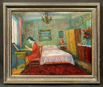 Early 20th Century Oil Painting signed Jacques Zucker, Interior of a Bedroom