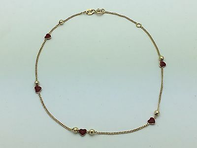 "14K Yellow Gold 9""-10"" Adj. Anklet Bracelet with Heart Enamel & Ball Beads 1.9 g"