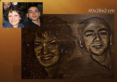 Handcrafted Custom Woodcarved portrait of your family picture you send us