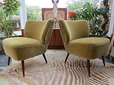 Pair Of Vintage East German Bartholomew Cocktail Chairs C1965 (Jy16/57)