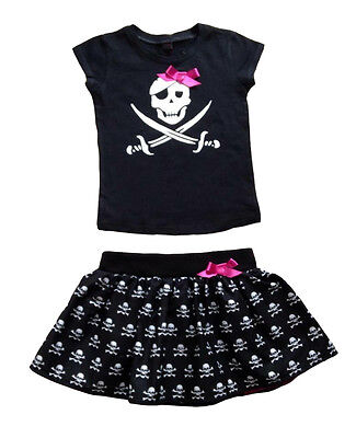 Pirate Skull Print T-shirt & Tutu Baby Outfit, Goth Rockabilly Punk Alternatots