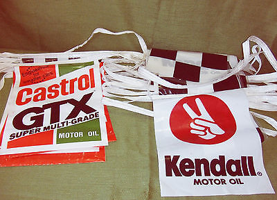 SET OF 2 SQUARE FLAG, ROPE TYPE RACING BANNERS-KENDAL 35ft & CASTROL GTX 21ft