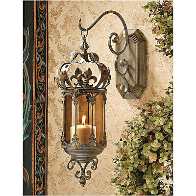 Outdoor Hanging Pendant Lantern Light Castle Metal Scroll Work Candle Wall Porch