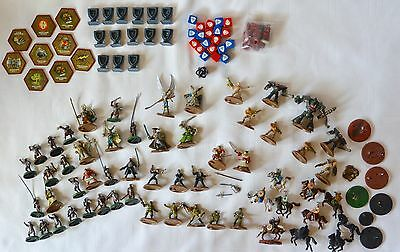 HEROSCAPE Lot 120+ Pieces/ Figures Horses Dice Red Blue Black Hex Chips WAR Game