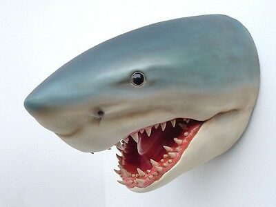 Shark Head Life Size Resin Great White Jaws Tooth Teeth Fish Hanging  - Free Shi