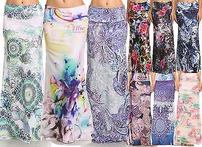 Women's LONG SKIRT Floral Paisley Boho high waist maxi (S/M/L/XL1XL/2XL/3XL)