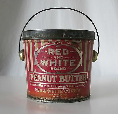 Red And White Brand Peanut Butter 1 Lb Sized Vintage Tin Pail