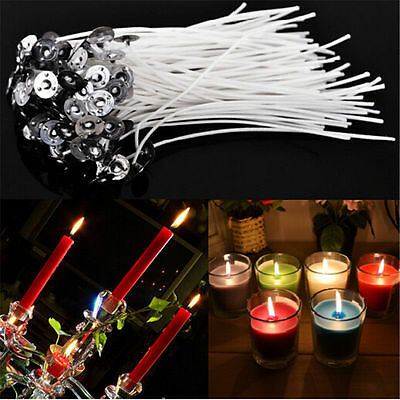 100Pcs 9/10/15/20 cm Candle Wicks Pre Waxed With Sustainers Cotton For DIY