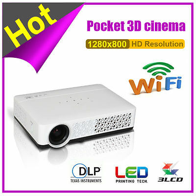 1080P 5000 LX 3D DLP Projector Android 4.4 Wifi Mini Home Theater HD USB HDMI SD