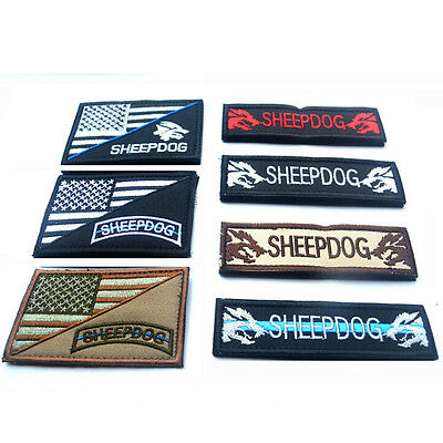 7 Pcs Sheepdog Usa Flag U.s. Tactical Army 3D Embroidery Morale Badge Hook Patch