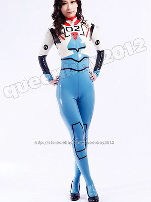 100% Latex Rubber Gummi 0.45mm Ganzanzug Catsuit Bodysuit Maske Kostüm uniform