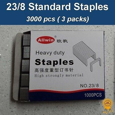 3x1000 pcs, 23/8, Standard Heavy Duty Staples, Refill School Home Office staple