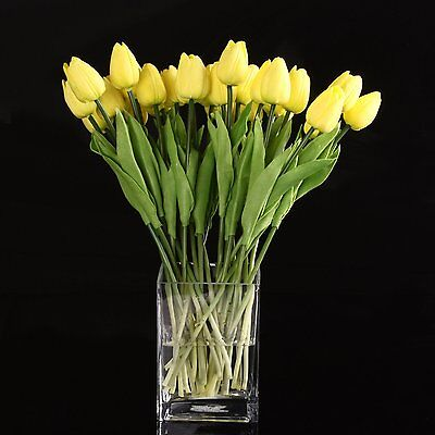 Y11 10pcs Yellow Latex Tulip Flower with Leaves For Wedding Decorate