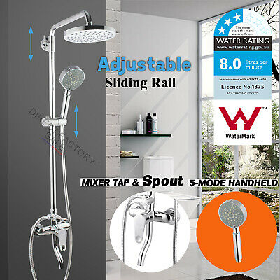 WELS Round Rain Shower Head 5 Mode Handheld Sliding Rail Wall Arm Included Mixer