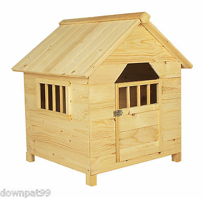 Dog Chalet Style Kennel in Dark or Natural Light Fir Wood - Pet Garden Home NEW