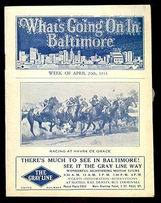 WHAT'S GOING ON IN BALTIMORE April 20th 1931 Original Guide Book