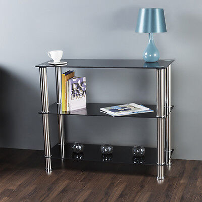 Glass Shelving Unit Display Cabinet 3 Tier Black Glass