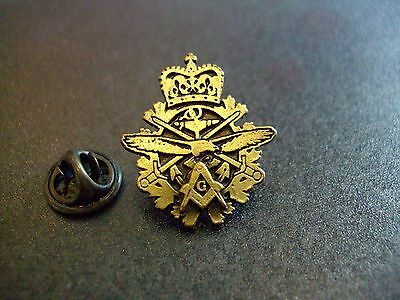 Masonic Freemason Canadian Tri Service Armed Forces Lapel Pin Plus Gift Pouch