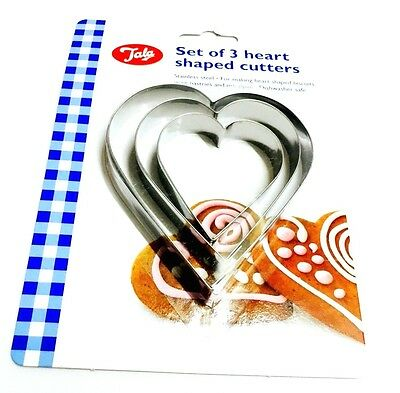 Tala Stainless Steel Heart Shape Biscuit / Pastry  Cutter Set Of 3 - Assorted