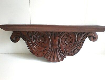 Rustic Wall Shelf Console Federation Style Balinese Wood Carved Carving Art 50Cm