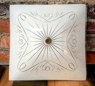 """Vintage Ceiling Light Shade Mid Century Square Glass Center Brass Ring 11.5"""""""