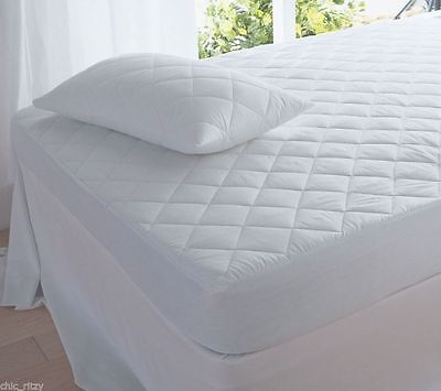 Quilted Mattress Protector Double Single Super King Deep Polycotton Bed Cover