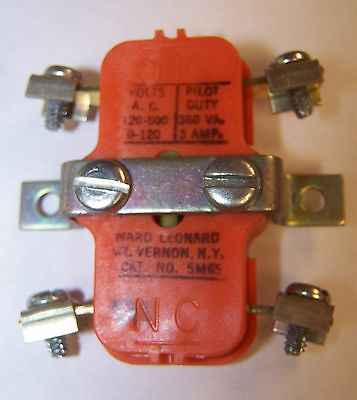 Ward Leonard 5M65 Contact Block Normally Open & Normally Closed Auxiliary Used
