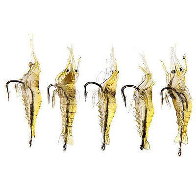 New 5 Pcs Lures Bait Shrimp Fishing Simulation Prawn Saltwater Hooks Fish