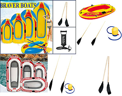 1/2/3/4 Person Inflatable Dinghy Raft Boat Beach Holiday Fun Pump And Oars Sport