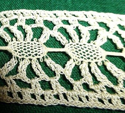 "Antique Vintage 19c Lace Chemical Schiffli off white Trim  36"" x 1.5"" Pretty"