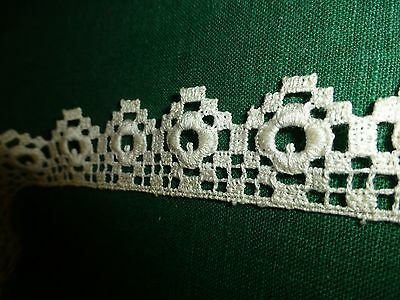 "Antique Vintage 19c Lace Chemical Schiffli off white Trim  52""x 1 1/8"" Delicate"