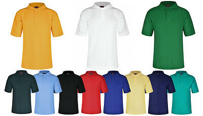 Polo Shirts Girls & Boys School Sports 10 Colours 13 Sizes Top Quality