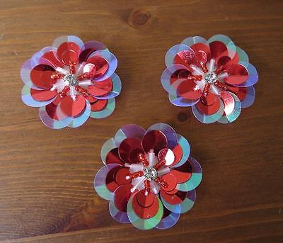 3 beautifully detailed red sequin & beaded flower patch appliques.