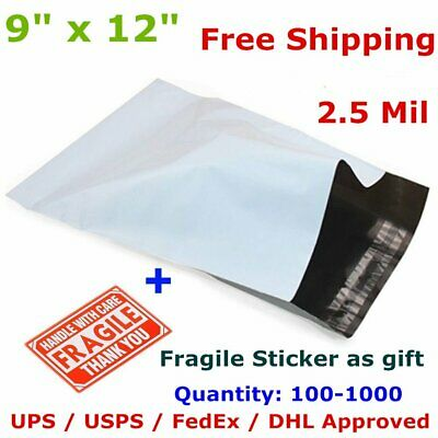 100-1000 9 x 12 Poly Mailers Shipping Envelope Self Sealing Plastic Bags 2.5 Mil