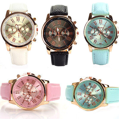 Fashion Chic Women Faux Leather Geneva Roman Numerals Analog Quartz Wrist Watch