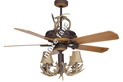 "Woodland Series- 52"" Ceiling Fan with 4-Light Antler Chandelier & Antler Scroll"