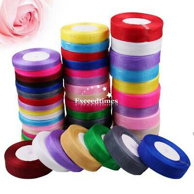50Yds 10 25mm Satin Woven Edge Sheer Sparkly Organza Ribbon Sewing Craft Wedding
