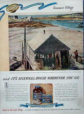 1946 Maxwell House Coffee Seacoast Village Lobstermans Wharf Zsissly Boat  ad