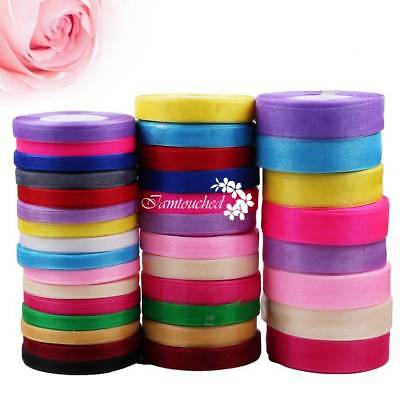 Satin Edge Sheer Organza Ribbon Craft Bow Wedding Width 10 15 25mm 50Yards Roll