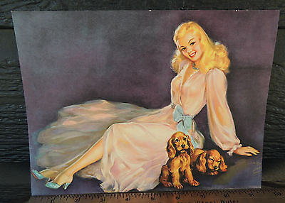 "Vintage Pinup Sample 9-51  7.25"" x 9.5""  Girl with Cocker Spaniels"