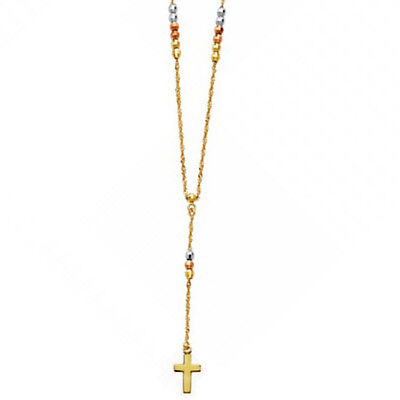 """14K 3 Tone Gold 2.5mm Faceted Ball Beads Cross Rosary Necklace Rosario Chain 18"""""""